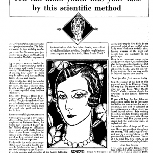 magazine page describing Auto-Facial Construction as scientific method for molding youth into your face