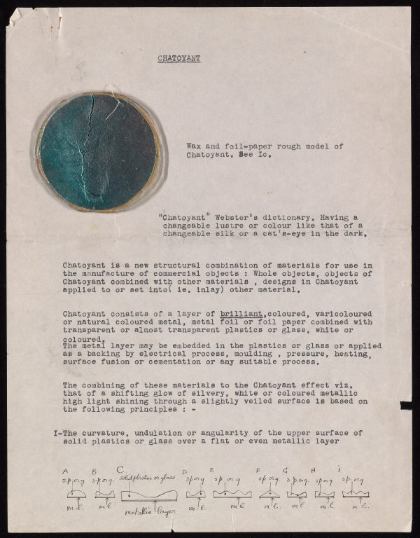 Letter describing Loy's design for Chatoyant