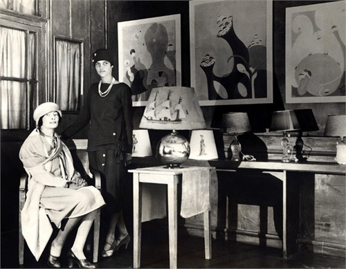 Mina Loy and Peggy Guggenheim in Paris lampshade shop c. 1926-1930